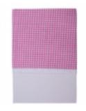 Little Dutch wieglaken donker roze ruit met kant_