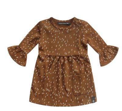 Rainy camel ruffle dress