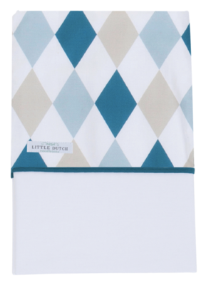 Little Dutch wieglaken ruit blauw en beige