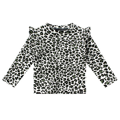 Your Wishes ruffle top leopard camo