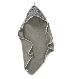 Cotton Baby badcape panter grijs