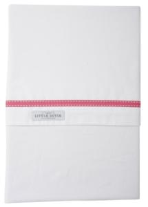 Little Dutch ledikantlaken wit met roze lint strookje